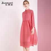 红色宽松衬衫含桑蚕丝娃娃领连衣裙女春秋装中长款2019