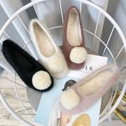 鞋子女冬季毛毛鞋加绒保暖圆头平跟软底棉鞋毛球豆豆瓢鞋单鞋女