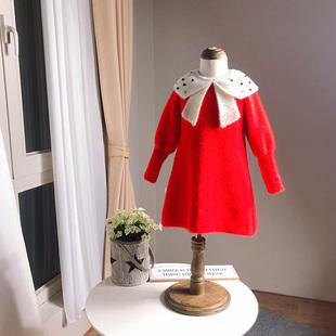 新年装厚实软糯仿貂绒连衣裙 女童公主裙 娃娃领