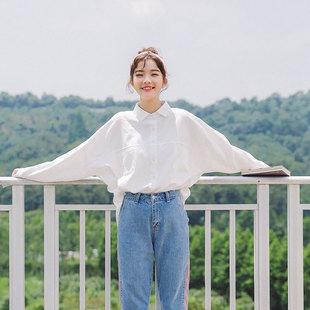 慕妞2019早春韩范气质文艺风白色长袖衬衣宽松上衣女衬衫