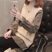 衬衫毛衣宽松中长款加厚秋冬季女假两件套ins打底套头针织衫