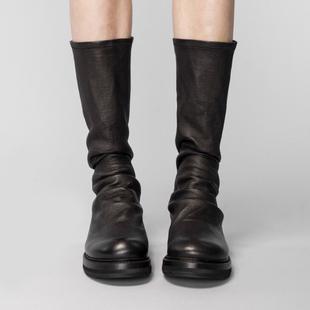 圆头平底靴子黑色鞋子女2018秋冬网红短靴女过膝长筒靴瘦瘦靴