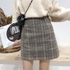 学院风半身裙秋冬女装学生复古格纹A字短裙子高腰包臀一步裙