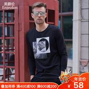 英爵伦2018秋季男士圆领潮流印花长袖T恤 青年体恤打底衫个性图案
