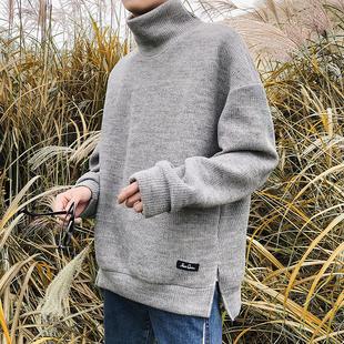 子俊男装冬季高领宽松毛衣男潮流青少年侧开衩套头针织衫