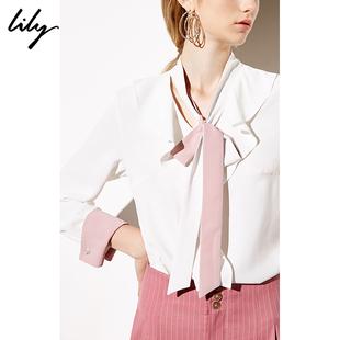 Lily2019春商务拼色荷叶边系带白色套头衬衫雪纺衫8922
