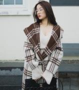 DearSav19年冬季 韩国制两面穿纯羊毛呢格子大衣
