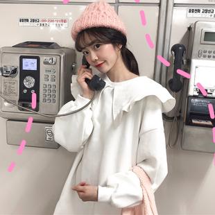 网红加绒卫衣女装2018冬季娃娃领中长款套头长袖连衣裙子
