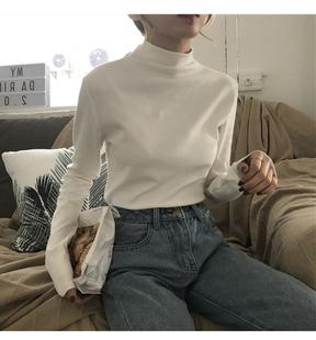 2021秋冬港风t恤上衣百搭心机洋气半高领女士内搭显瘦黑色打底衫