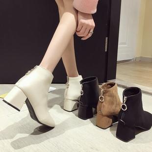 ins马丁靴女2018秋冬英伦风方头网红粗跟短靴高跟加绒瘦瘦靴