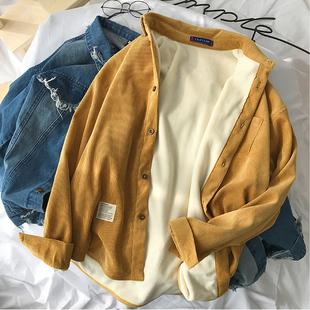 加绒保暖衬衫男2018长袖衬衣潮流男士加厚情侣打底衫外套
