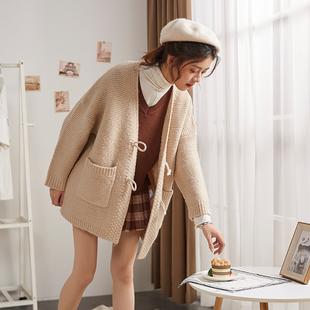 唐狮2019春女毛衣外套粗毛线针织开衫加厚百搭学生中长款宽松