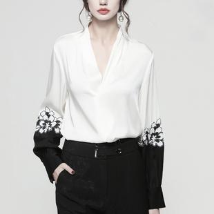 气质V领真丝衬衫女秋 印花复古花朵刺绣黑白拼色桑蚕丝灯笼袖上衣
