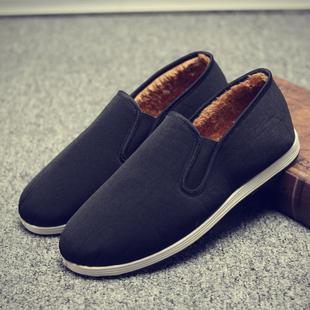 老北京布鞋男士懒人棉鞋黑工作鞋秋冬季帆布加绒保暖软底防滑