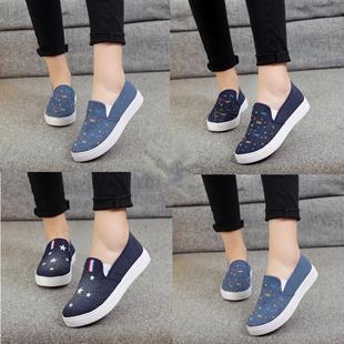春季厚底套脚牛仔布鞋一脚蹬学生帆布鞋板鞋鞋女鞋懒人鞋