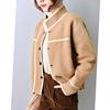 时尚撞色边流行时髦长袖黄金绒外套女式上衣冬季女装d