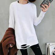 2018秋冬女装下摆破洞长袖T恤中长款上衣内搭加绒打底衫