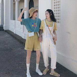BIGKING大金家多色小清新花朵纯棉T恤女2019夏季宽松短袖上衣