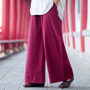 原创复古中国风水洗绉布棉麻阔腿裤加绒女装裤子长裤直筒裤