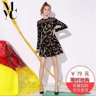 2018秋冬女装时尚印花蕾丝圆领OL气质显瘦A字连衣裙