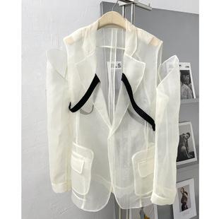 西装外套女设计感小众2021早秋韩版时尚半透明防晒欧根纱上衣