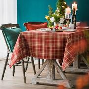 赫本家布艺美式欧式英伦圣诞节日红色格子羊毛混纺餐厅桌布可定制