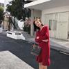 维多利亚宫廷法式复古裙秋收腰法国小众红色针织连衣裙子女秋冬季