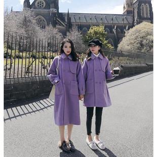 87MM紫色赫本风毛呢大衣女冬加厚中长款2018流行呢子外套