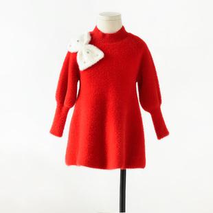 新年装 女童仿貂绒连衣裙 中国红淑女公主范 厚实柔软保暖