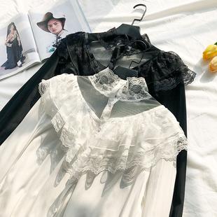 白色蕾丝雪纺衬衫女春秋2019荷叶边网纱拼接立领长袖上衣