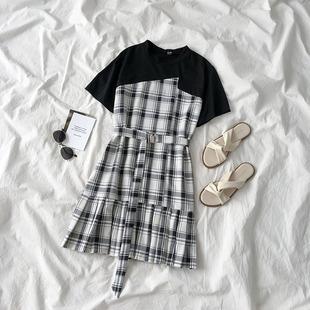 设计感拼接连衣裙夏季2019女小个子收腰显瘦气质a字裙子
