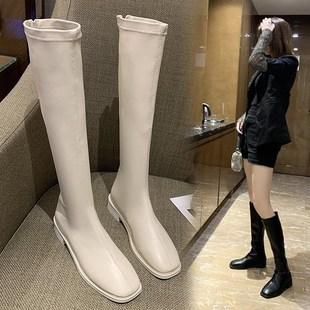 不过膝长靴女小个子中筒靴粗跟白色长筒骑士显瘦高筒靴子春秋单靴
