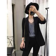 黑色小西装外套女小个子时尚中长款西服上衣休闲2021春装欧货