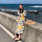 苏喂 短袖碎花休闲连衣裙女夏2021年法式裙子设计感气质长裙