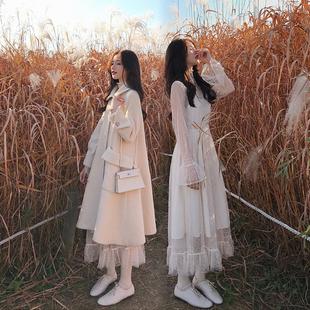 秋冬气质温柔风法式复古甜美超仙女打底蕾丝网纱连衣裙内搭长裙子