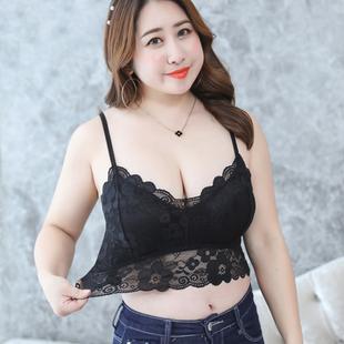 五季家大码女装2019胖mm春装蕾丝裹胸抹胸打底背心文胸内衣女