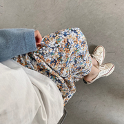 孕妇碎花雪纺半身裙中长款潮妈时尚秋季2021年显瘦百褶长裙子