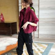 红色工装牛仔短外套女韩版宽松薄款夹克欧货潮春秋2021欧洲站