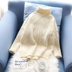 白色高领毛衣女2018宽松学生套头加厚短款冬季打底毛线衣