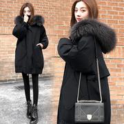 茧型羽绒服女2018冬季宽松显瘦大毛领连帽加厚外套潮
