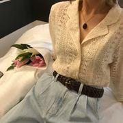 夏季蕾丝气质长袖镂空外套女宽松显瘦西装领防晒衫学生女上衣
