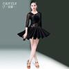 拉丁舞服装女成人烫钻秋季长袖性感舞蹈跳舞连衣裙