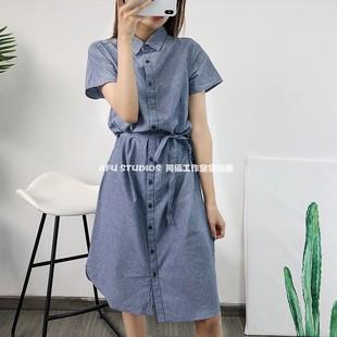 阿福 文艺清新范 纯棉简洁竖条纹系腰带衬衫连衣裙