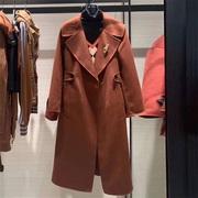 希哥弟思媞2021冬季长袖羊毛双面呢子大衣中长款风衣外套