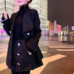 U.VN 秋冬黑色西装外套御姐套装女神洋气高腰阔腿短裤两件套