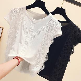 2019夏季无袖背心蕾丝镂空拼接白色t恤女短袖超仙打底衫上衣