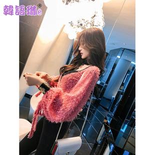 韩语琳2019女装春装灯笼袖挂脖V领上衣宽松流苏雪纺衫女