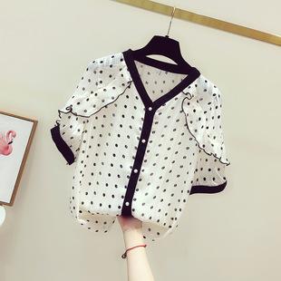 波点雪纺衫女短袖2019夏季设计感小众洋气V领衬衫荷叶边上衣