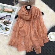 神秘女孩 秋冬季围巾加厚纯色蕾丝大披肩欧根纱镂空女士丝巾