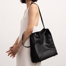 FOSTYLE菩提說软羊皮拼接植鞣牛皮休闲通勤女包黑色大容量托特包